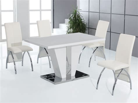 full white high gloss dining table   chairs set