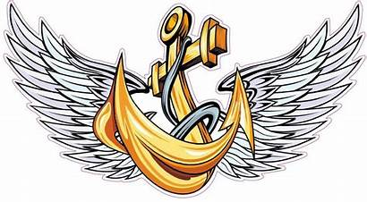 Anchor Navy Wings Tattoo Vector Decal States