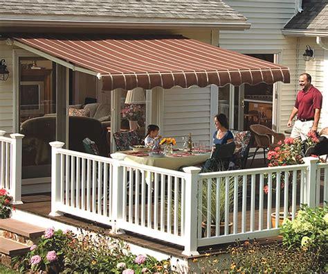 vista manual retractable awning  acrylic fabric  sunsetter awnings
