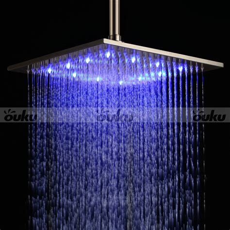 rain shower head with lights 12 quot led light square rain shower head stainless steel