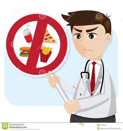 dr cuisine with junk food prohibit signage stock