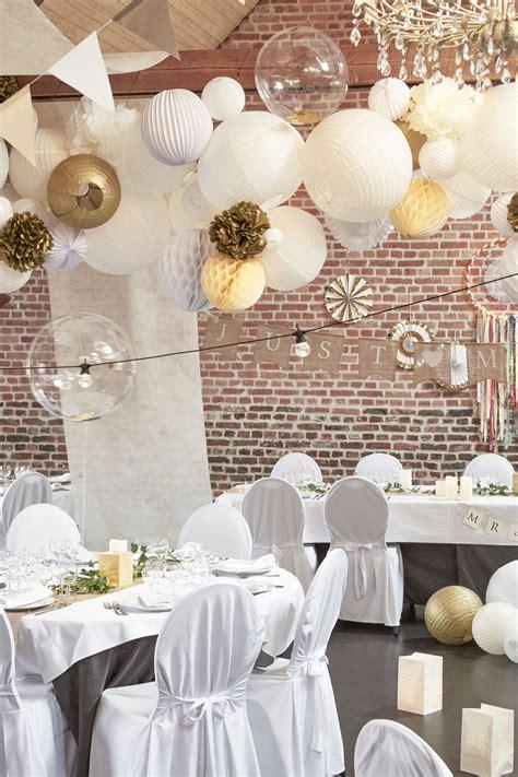 tentures salle mariage champetre boule papier ivoire