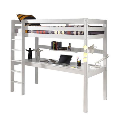 armoire chambre à coucher lit mezzanine en pin massif 90x200cm avec bureau intégré