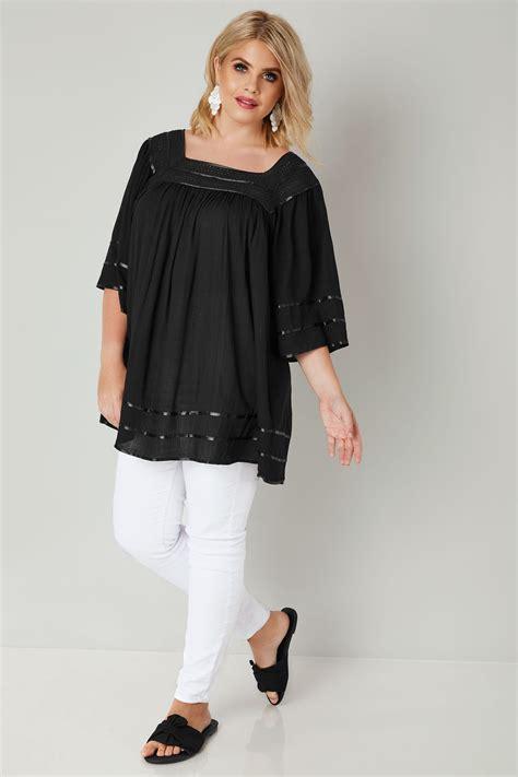 Schwarze Bluse Mit Gehäkeltem Ausschnitt, Große Größen 4464