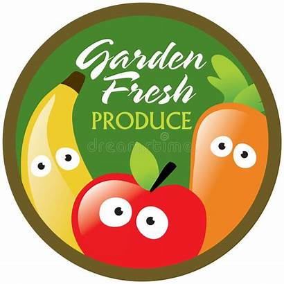 Produce Fresh Label Garden Sticker Illustration Vector