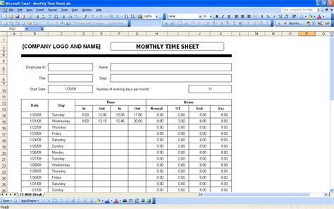 free excel timesheet template shatterlion info