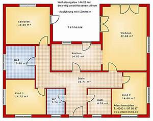 Bungalow Grundrisse 4 Zimmer : atrium dreiseitig bungalow einfamilienhaus neubau massivbau stein auf stein ~ Eleganceandgraceweddings.com Haus und Dekorationen