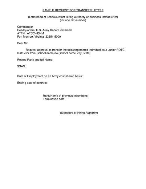 formal request  transfer letter   write  formal