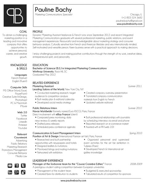 Integrated Marketing Communications Resume by Pauline Bachy Resume Marketing Communications