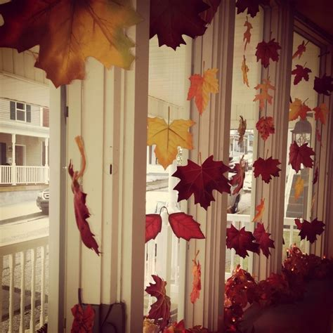 window decorations for fall fall bay window decorating idea fabric leaves tied onto clear jewelry string marissa b