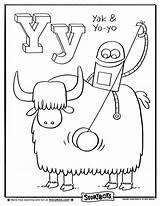 Letter Yo Coloring Yak Sheets Activity Preschool Alphabet Crafts Activities Bots Storybots Abc Kindergarten Letters Colouring Worksheets Sheet sketch template