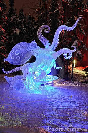 blue ring octopus ice sculpture editorial photo image