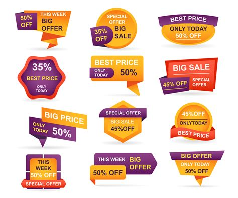 set  retail sale tags stickers  offer price  big