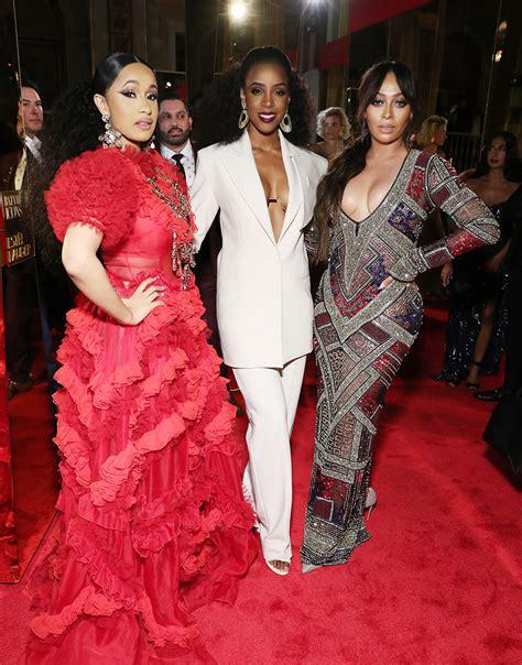 Cardi B (L), Kelly Rowland, (C) and La La Anthony pose at ...