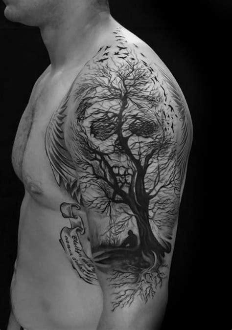 40 Skull Tree Tattoo Designs For Men - Cool Ink Ideas