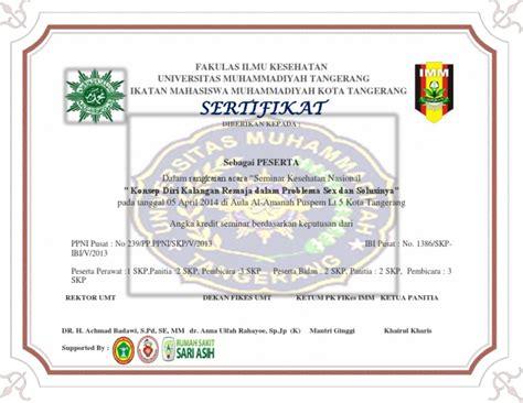 Contoh Notulen Seminar Kesehatan by Contoh Sertifikat Seminar Kesehatan Nasional Docx