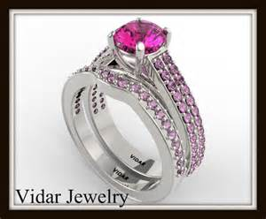 pink wedding ring set pink sapphire bridal ring set vidar jewelry unique custom engagement and wedding rings