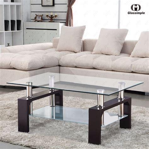 modern rectangular glass coffee table shelf  leg living