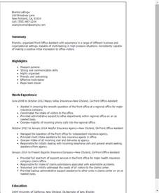 resume templates office assistant professional front office assistant templates to showcase your talent myperfectresume