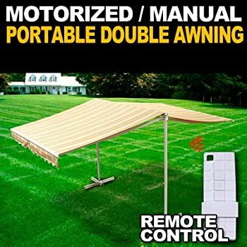 amazoncom deluxe  standing portable motorized retractable double awning  wireless