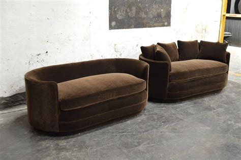 chocolate brown sofas for sale pair of vintage curved loveseat sofas in chocolate brown