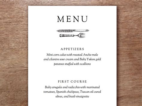 menu card template printable menu kate wills and understated
