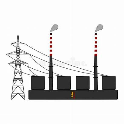 Coal Plant Power Isolated Illustration Vector Supply
