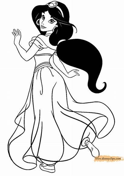 Jasmine Coloring Princess Pages Disney Drawing Princesse
