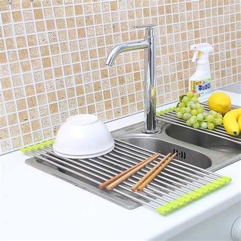 over the sink drying rack new over the sink roll up dish drying rack stainless steel
