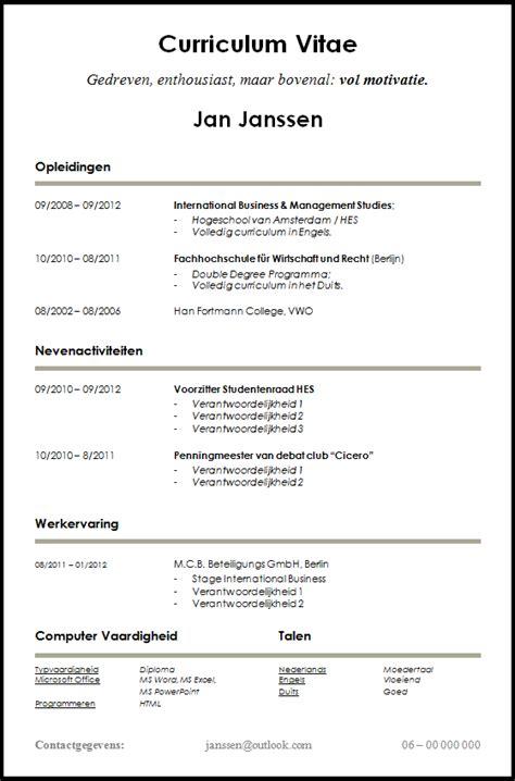 Cv N Resume by Voorbeeld Cv Voor Starters En Studenten Dit Cv Is Gratis