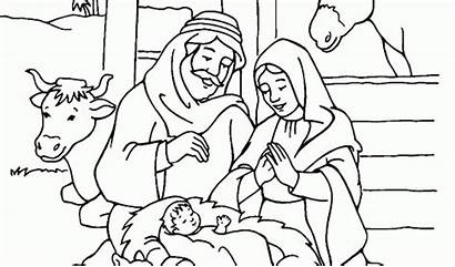 Coloring Jesus Birth Pages Christmas Printable Manger