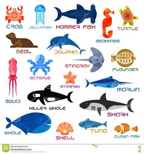 oceanarium oceaandieren en vissen met namen vector