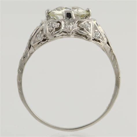 art deco diamond sapphire engagement ring platinum