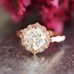 moissanite engagement rings gold 14k gold moissanite engagement ring vintage floral ring scalloped wedding band