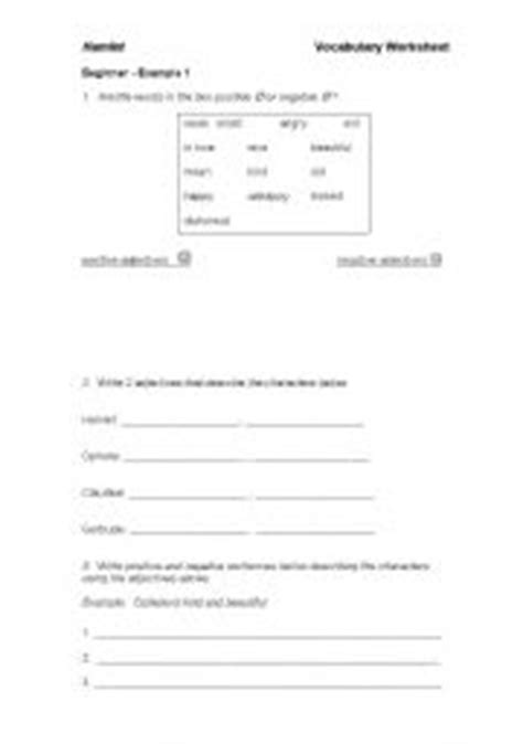 english worksheets adjectives for characters in hamlet