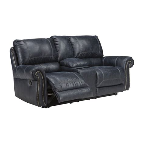 milhaven reclining faux leather loveseat in
