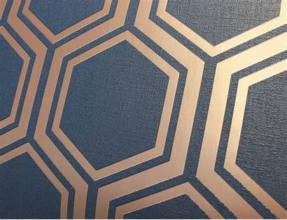 Hexagon Arthouse Navy Luxe Geometric Metallic Textured