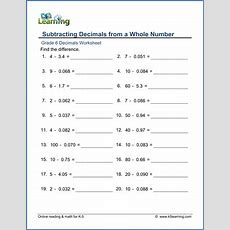 Grade 6 Addition And Subtraction Of Decimals Worksheets  Free & Printable  K5 Learning