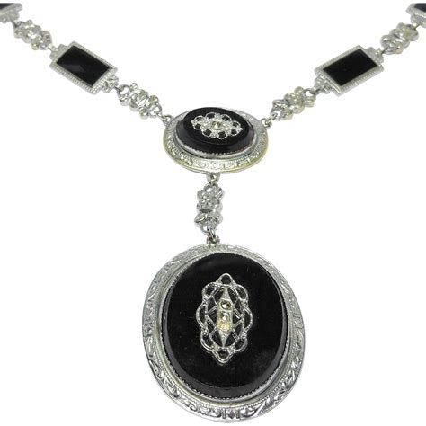 deco enamel jewelry deco enamel marcasite ornate necklace from thejewelcollection on ruby