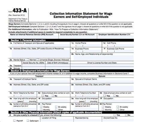 Irs Form 443a by Irs 433 B