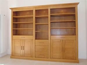 Meuble Tv Bois Massif Moderne : biblioth que en bois massif sur mesure ~ Teatrodelosmanantiales.com Idées de Décoration