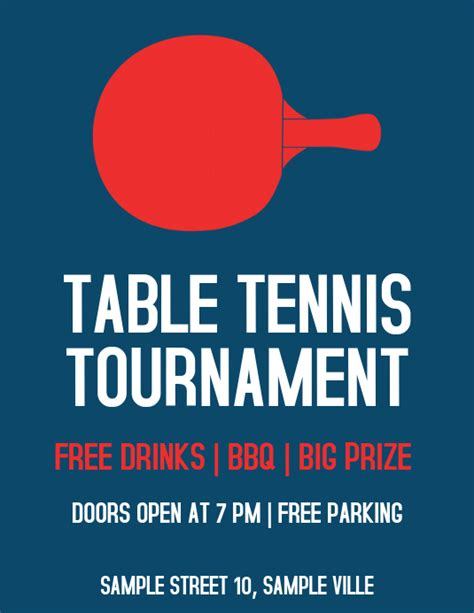 table tennis ping pong tournament flyer template postermywall