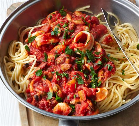 spaghetti  smoky tomato seafood sauce recipe bbc