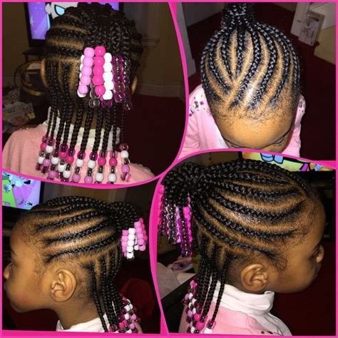 cornrows with clear pink and white beads for little girls