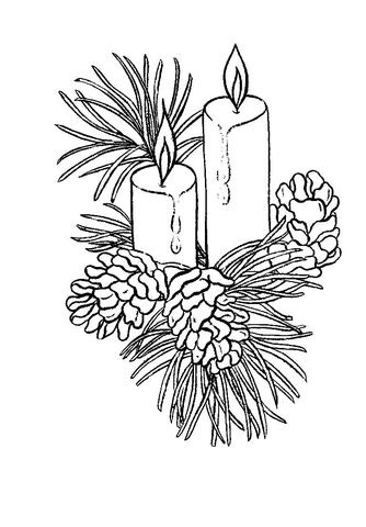 beautiful christmas candles coloring page  printable coloring pages