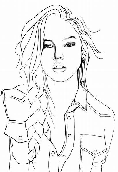 Coloring Sketches Adult Outline Drawings Face Draw