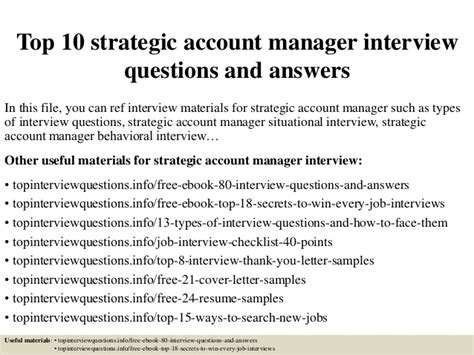 feasibility study cover letter sles top 10 strategic account manager questions and