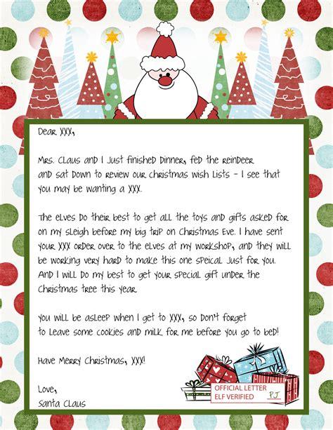 Letter From Santa Template Carta Pap 225 Noel