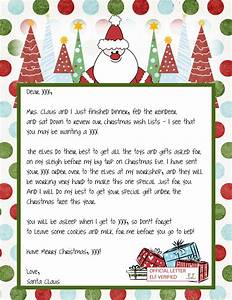 free printable letters from santa template With best letters from santa claus
