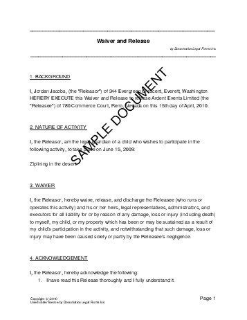 waiver template waiver and release australia templates agreements contracts and forms